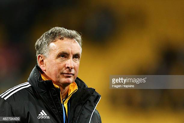 Coach Ernie Merrick of the Phoenix looks on during the Football United New Zealand Tour 2014 match between the Wellington Phoenix and Newcastle...