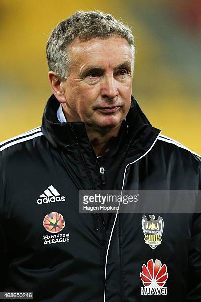 Coach Ernie Merrick of the Phoenix looks on during the round 24 ALeague match between the Wellington Phoenix and Melbourne Victory at Westpac Stadium...