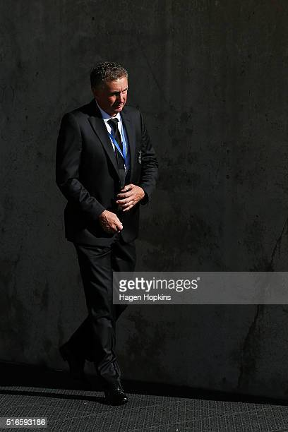 Coach Ernie Merrick of the Phoenix looks on during the round 24 ALeague match between the Wellington Phoenix and the Perth Glory at Westpac Stadium...