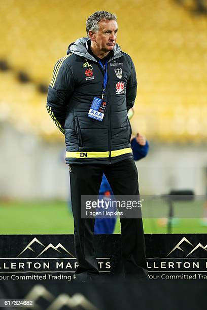 Coach Ernie Merrick of the Phoenix looks on during the round three ALeague match between the Wellington Phoenix and Sydney FC at Westpac Stadium on...
