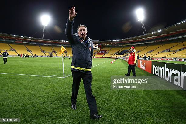 Coach Ernie Merrick of the Phoenix salutes the crowd after winning the round five ALeague match between the Wellington Phoenix and the Newcastle Jets...