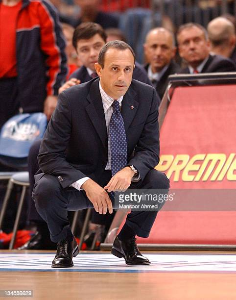 Coach Ettore Messina of CSKA Moscow patrols the sidelines during the NBA Europe Live Tour presented by EA Sports on October 10 2006 at the Koeln...