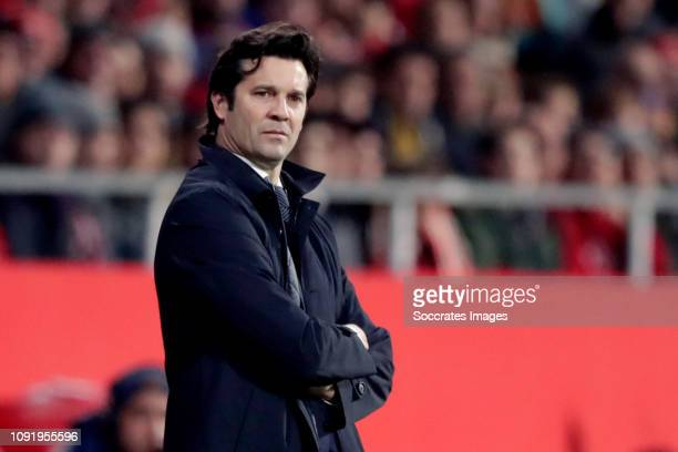 Coach Eusebio of Girona during the Spanish Copa del Rey match between Girona v Real Madrid at the Estadi Municipal Montilivi on January 31, 2019 in...