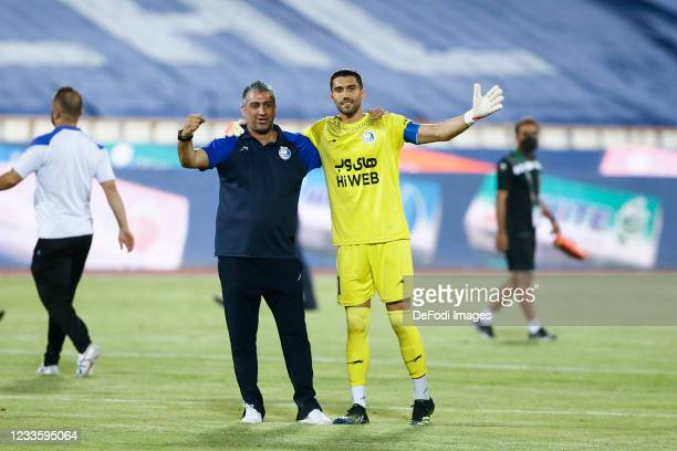 Coach Farzad Majidi of Esteghlal and Hossein Hosseini of Esteghlal looks on during the Persian Gulf Pro League match between Esteghlal and Padideh FC...