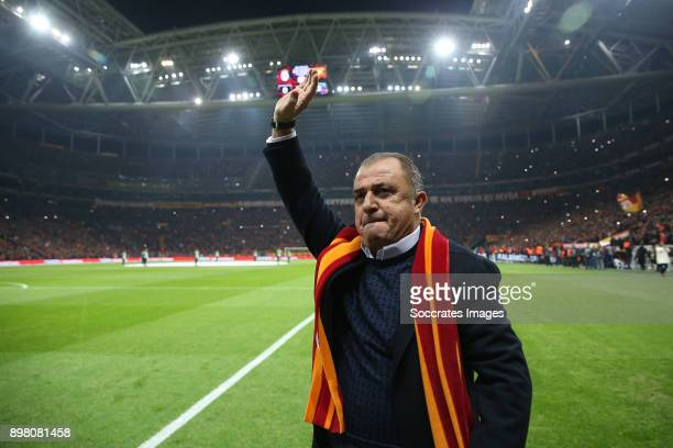 coach Fatih Terim of Galatasaray during the Turkish Super lig match between Galatasaray v Goztepe at the Turk Telekom Stadium on December 24 2017 in...
