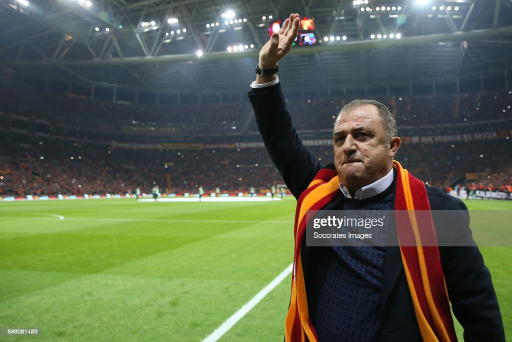 coach Fatih Terim of Galatasaray during the Turkish Super lig match between Galatasaray v Goztepe at the Turk Telekom Stadium on December 24, 2017 in Istanbul Turkey