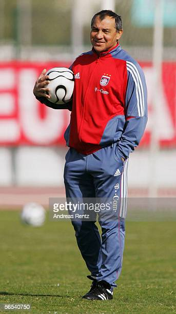 Coach Felix Magath looks on during the Bayern Munich training camp on January 8 2006 in Dubai United Arab Emirates