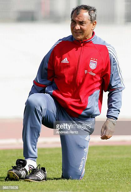 Coach Felix Magath of German Bundesliga club Bayern Munich changes his boots on January 12 2006 in Dubai United Arab Emirates