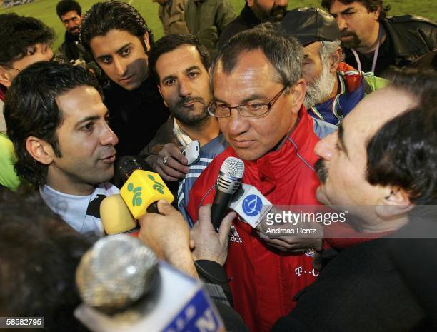 Coach Felix Magath of Munich speaks to the media after the friendly match between Persepolis Tehran and Bayern Munich at the Asadi Stadium on January...