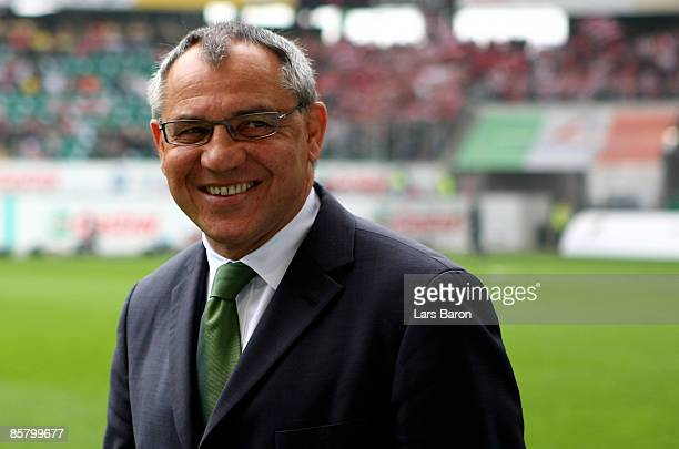 Coach Felix Magath of Wolfsburg smiles prior to the Bundesliga match between VfL Wolfsburg and FC Bayern Muenchen at the Volkswagen Arena on April 4...