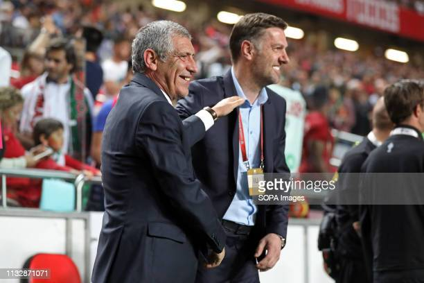 Coach Fernando Santos of Portugal and Coach Mladen Krstajic of Serbia during the Qualifiers Group B to Euro 2020 football match between Portugal vs...