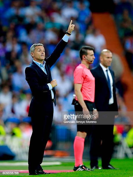 Coach Fran Escriba of Villarreal CF gives instructions during the La Liga match between Real Madrid CF and Villarreal CF at Santiago Bernabeu stadium...