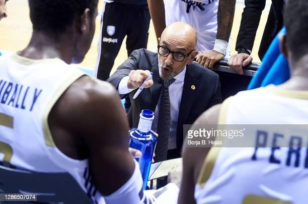 Coach Francesco Vitucci of Happy Casa Brindisi during Basketball Champions League match between Hereda San Pablo Burgos and Happy Casa Brindisi on...