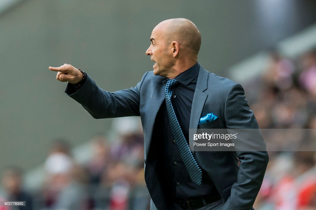 Coach Francisco Jemez Martin, Paco Jemez, of UD Las Palmas reacts during the La Liga 2017-18 match between Atletico de Madrid and UD Las Palmas at Wanda Metropolitano on January 28 2018 in Madrid, Spain.