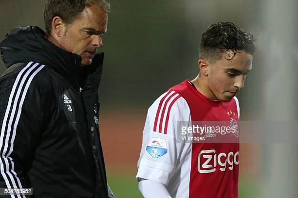 coach Frank de Boer of Ajax Abdelhak Nouri of Ajax during the friendly match Ajax Amsterdam v HSV on January 9 2016 at Belek Turkey