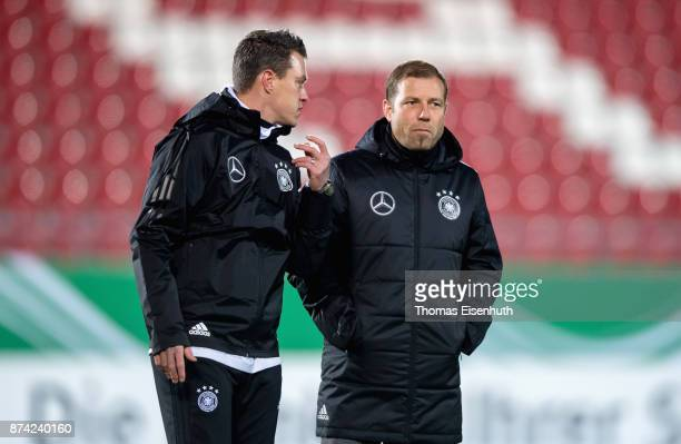 Coach Frank Kramer and assistant coach Hanno Balitsch of Germany look on prior the Under 20 International Friendly match between U20 of Germany and...