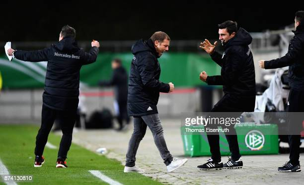 Coach Frank Kramer of Germany celebrates after the opening goal during the Under 20 International Friendly match between U20 of Germany and U20 of...