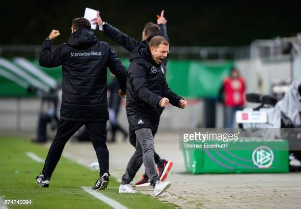 Coach Frank Kramer of Germany celebrates during the Under 20 International Friendly match between U20 of Germany and U20 of England at Stadion...