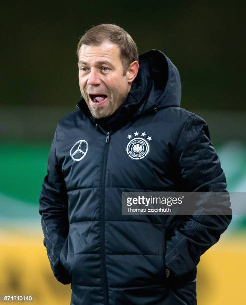 Coach Frank Kramer of Germany reacts during the Under 20 International Friendly match between U20 of Germany and U20 of England at Stadion Zwickau on...