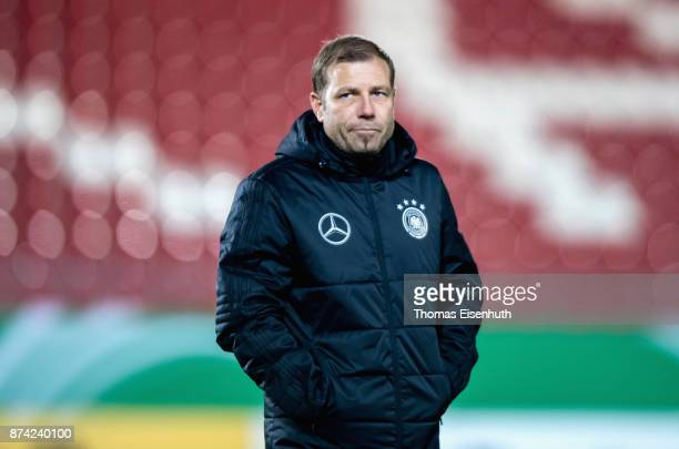 Coach Frank Kramer of Germany reacts prior the Under 20 International Friendly match between U20 of Germany and U20 of England at Stadion Zwickau on...