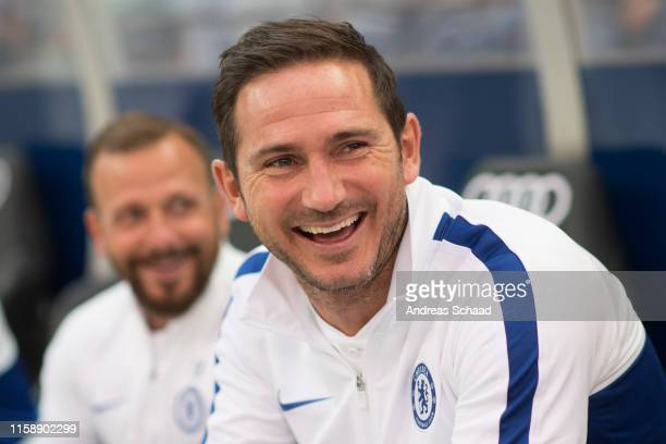 Coach Frank Lampard of FC Chelsea prior to the preseason friendly match between RB Salzburg and FC Chelsea at Red Bull Arena on July 31 2019 in...