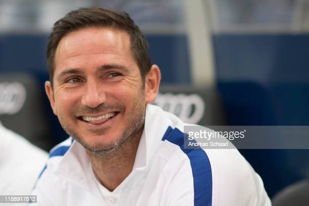 Coach Frank Lampard of FC Chelsea reacts prior the preseason friendly match between RB Salzburg and FC Chelsea at Red Bull Arena on July 31 2019 in...