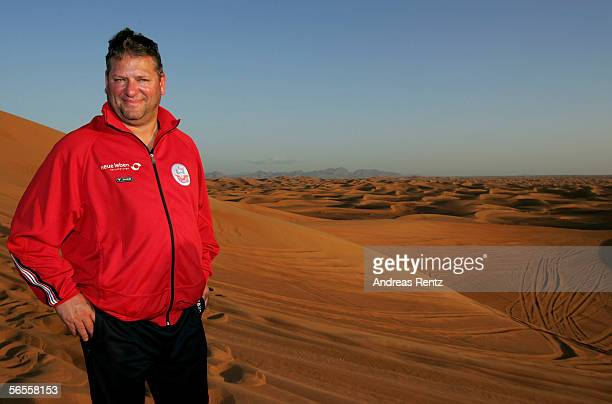 Coach Frank Pagelsdorf looks on during a desert tour outside of Dubai City during the training camp of German 2nd Bundesliga club Hansa Rostock on...