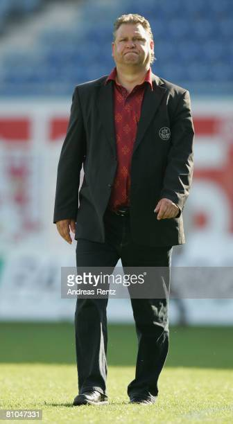 Coach Frank Pagelsdorf of Rostock shows his frustration during the Bundesliga match between Hansa Rostock and Bayer Leverkusen at the DKB Arena on...