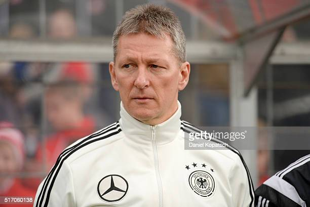 Coach Frank Wormuth of Germany looks on prior to the the U20 International Friendly match between Germany and Switzerland at Moeslestadion on March...