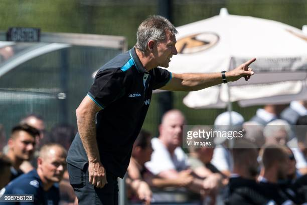 coach Frank Wormuth of Heracles Almelo during the Friendly match between Heracles Almelo and FC Emmen at Sportcomplex 't Brook on July 14 2018 in...