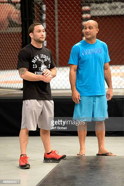 Coach Frankie Edgar and coach BJ Penn announce the upcoming fight for the next episode during filming of season nineteen of The Ultimate Fighter on...