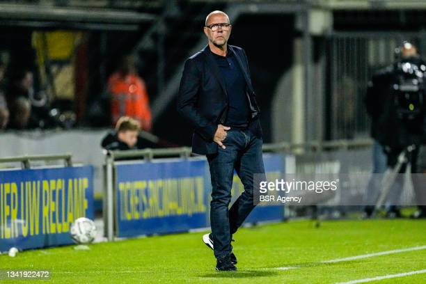 Coach Fred Grim of Willem II during the Dutch Eredivisie match between RKC Waalwijk and Willem II at Mandemakers Stadion on September 21, 2021 in...