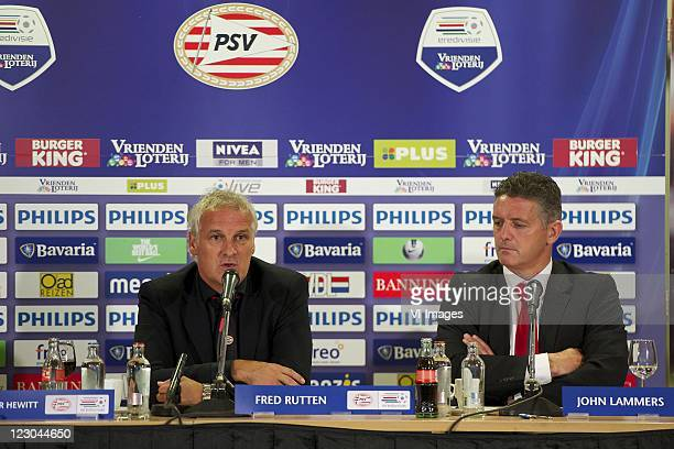 Coach Fred Rutten of PSVCoach John Lammers of Excelsior during the Eredivisie match between PSV Eindhoven and Excelsior Rotterdam at the Philips...