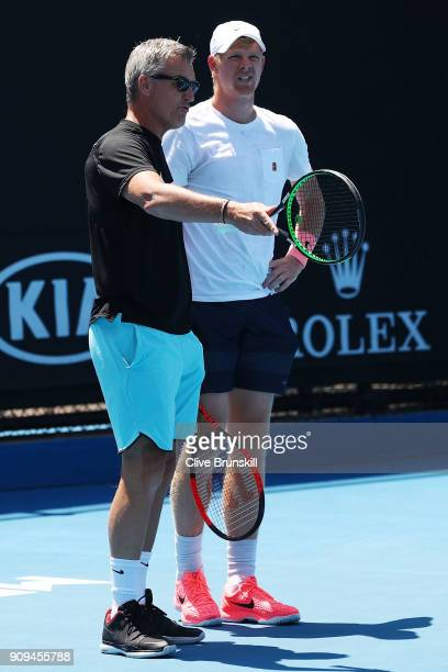 Coach Fredrik Rosengren is seen working with Kyle Edmund of Great Britain during a practice session on day 10 of the 2018 Australian Open at...