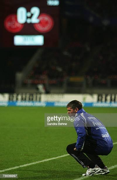 Coach Friedhelm Funkel of Eintracht Frankfurt reacts during the Bundesliga match between 1. FC Nuremberg and Eintracht Frankfurt at the EasyCredit...