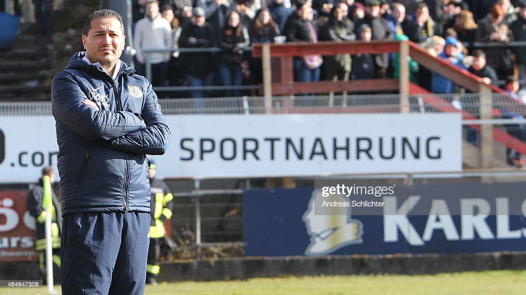 Coach Fuat Kilic of Saarbruecken during the Regionalliga Suedwest match between SV Elversberg (white) and 1. FC Saarbruecken (blue) on February 28, 2015 in Neunkirchen, Germany.