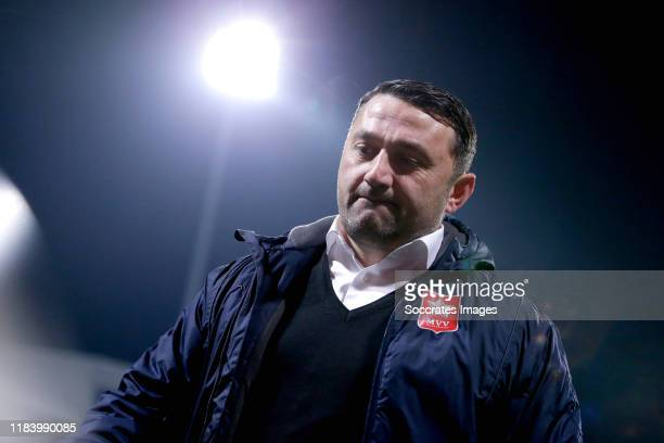 Coach Fuat Usta of MVV Maastricht leaves the pitch disappointed during the Dutch Keuken Kampioen Divisie match between MVV Maastricht v TOP Oss at...