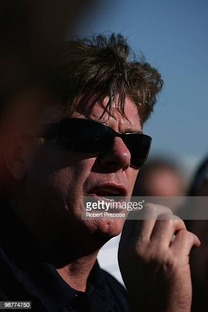 Coach Gary Ayres of Port Melbourne talks to his players during the round four VFL match between Williamstown and Port Melbourne at Burbank Oval on...