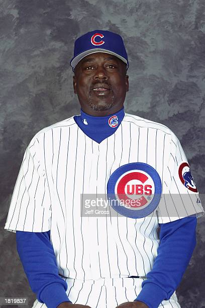Coach Gary Matthews of the Chicago Cubs poses for a portrait during the Cubs' spring training Media Day on February 21 2003 at Fitch Park in Mesa...