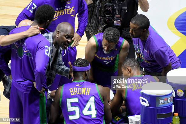 Coach Gary Payton of the 3 Headed Monsters speaks to his team during a timeout during the game against Power during week three of the BIG3 three on...