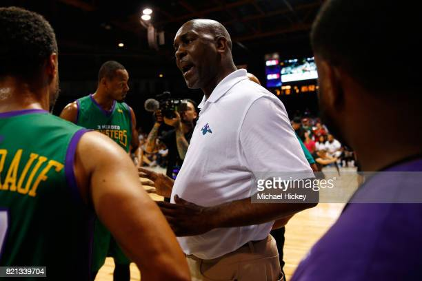 Coach Gary Payton of the 3 Headed Monsters speaks to his team during a timeout against 3's Company during week five of the BIG3 three on three...