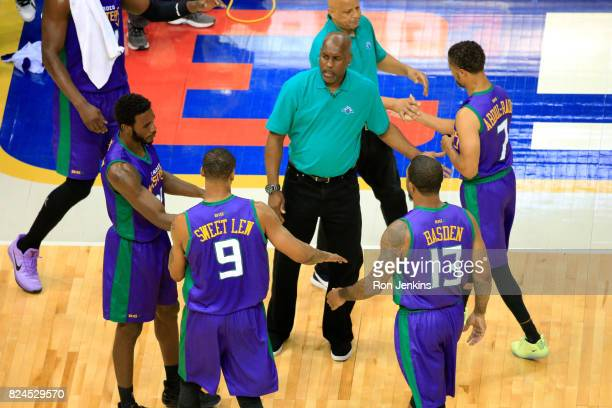 Coach Gary Payton of the 3 Headed Monsters talks to his team during a timeout against TriState during week six of the BIG3 three on three basketball...