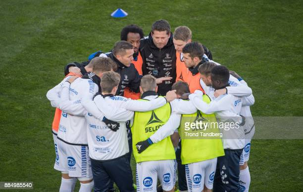 Coach Geir Bakke and the team Sarpsborg 08 before Norway Cup Final between Sarpsborg 08 v Lillestrom at Ullevaal Stadion on December 3 2017 in Oslo...