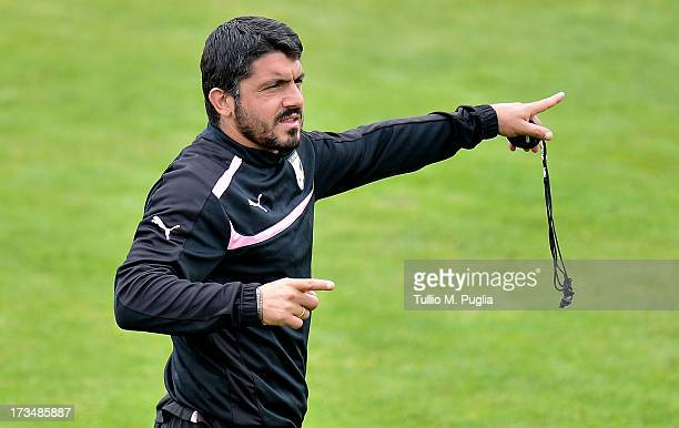 Coach Gennaro Gattuso of Palermo issues instructions during a US Citta di Palermo preseason training session at Sportzentrum on July 15 2013 in Sankt...