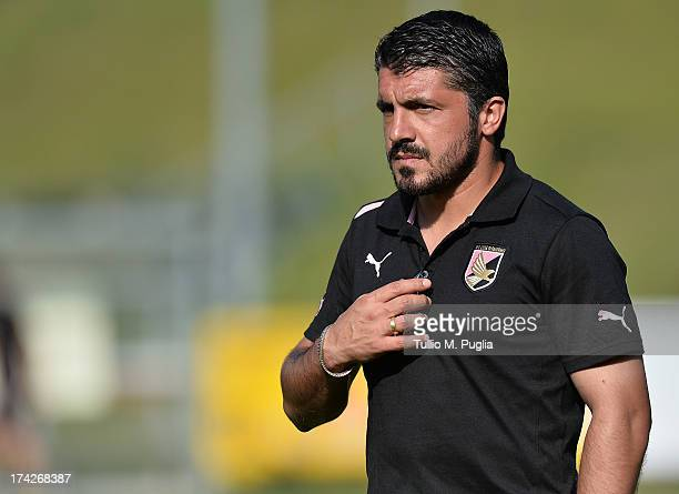 Coach Gennaro Gattuso of Palermo looks on during the friendly match between US Citta di Palermo and Murau at Sportzentrum on July 14 2013 in Sankt...