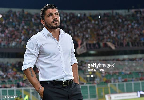 Coach Gennaro Gattuso of Palermo looks on during the TIM Cup match between US Citta di Palermo and Hellas Verona at Stadio Renzo Barbera on August 17...