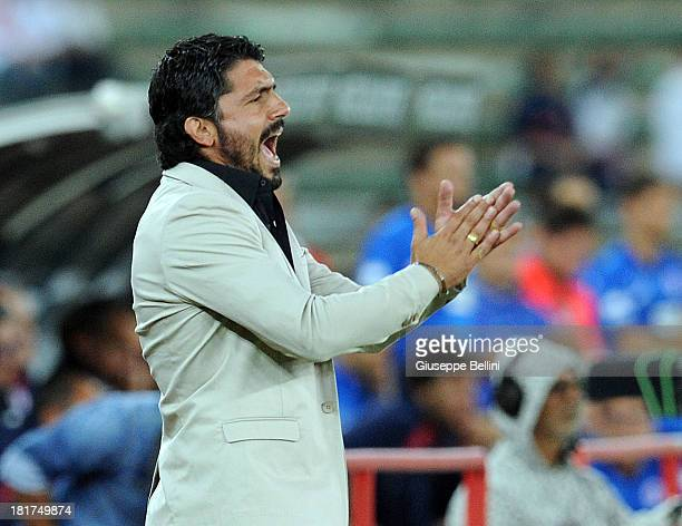 Coach Gennaro Gattuso of Palermo reacts during the Serie B match between AS Bari and US Citta di Palermo at Stadio San Nicola on September 24 2013 in...