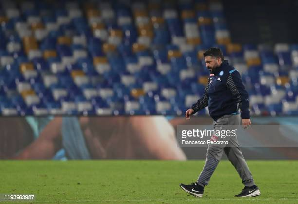 Coach Gennaro Gattuso of SSC Napoli looks dejected after the Serie A match between SSC Napoli and Parma Calcio at Stadio San Paolo on December 14...