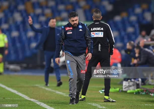Coach Gennaro Gattuso of SSC Napoli stands disappointed during the Serie A match between SSC Napoli and Parma Calcio at Stadio San Paolo on December...