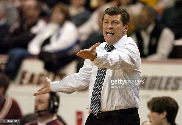 UCONN coach Geno Auriemma displays frustration during 5148 loss to Boston College in Big East Conference women's basketball game at Conte Forum in...